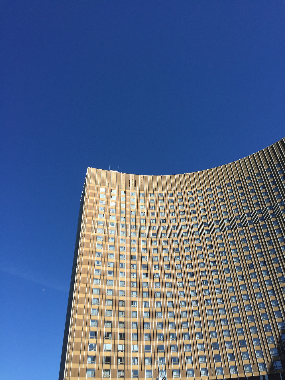 Although not as intimidating as many of the structures for which brutalism was named, the Hotel Cosmos in Moscow still makes a big impression on anyone who wanders into its shadow.