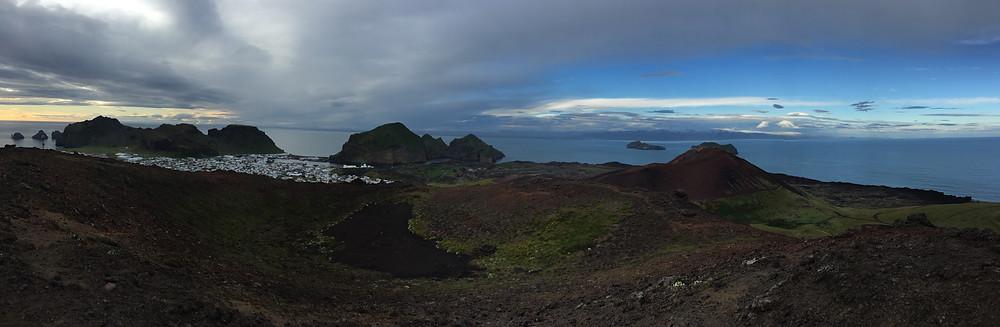 Looking into the cone of the Eldfell volcano in Vestmannaeyjar (the Westman Islands)
