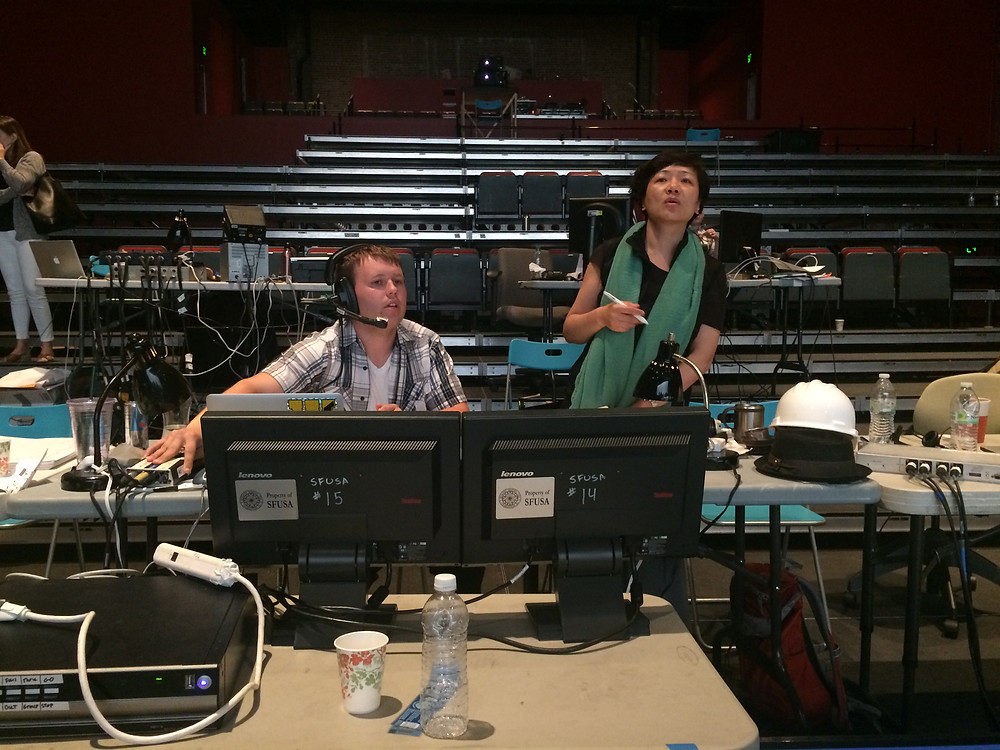 Kent Sprague (L) and Lea Xiao (R) during tech for Paradise Interrupted in the Memminger Auditorium
