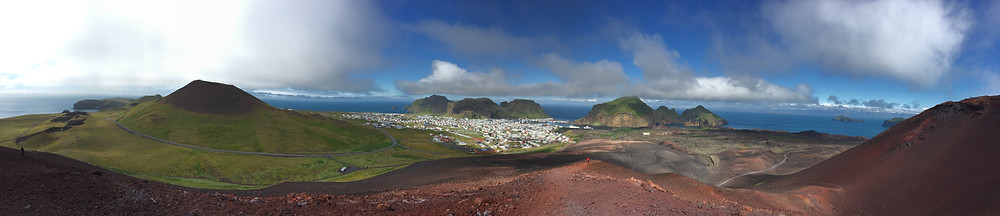 Panorama looking west from the top of the Eldfell volcano in Vestmannaeyjar (the Westman Islands)