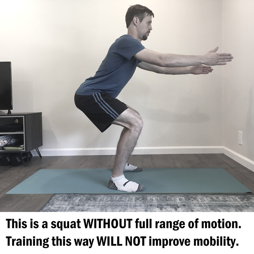 Squatting without full range of motion will not improve mobility.