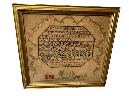 Sampler by LUCY WALWER 1819 in a gold frame