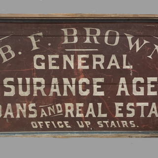 """WOOD PAINTED SIGN RED WHITE & BLUE B.F. BROWN Reference #: 18-79-M Size: 26""""W x 48"""" L Year/era:19th. century Origin:American Condition:Nice old finish Status:Available Quantity:1 Price:$795.00"""