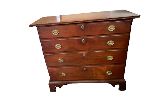 CHERRY CHIPPENDALE FOUR DRAWER GRADUATED CHEST