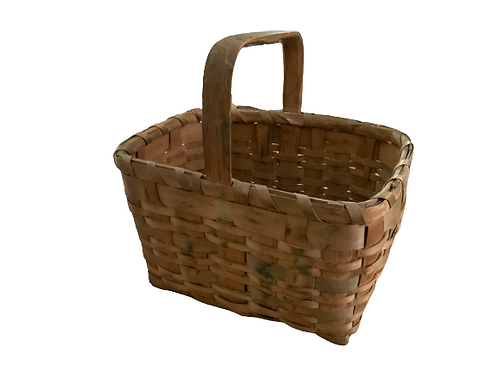Painted basket with handle