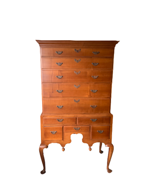MAPLE QUEEN ANNE FLAT TOP TWO PIECE HIGHBOY