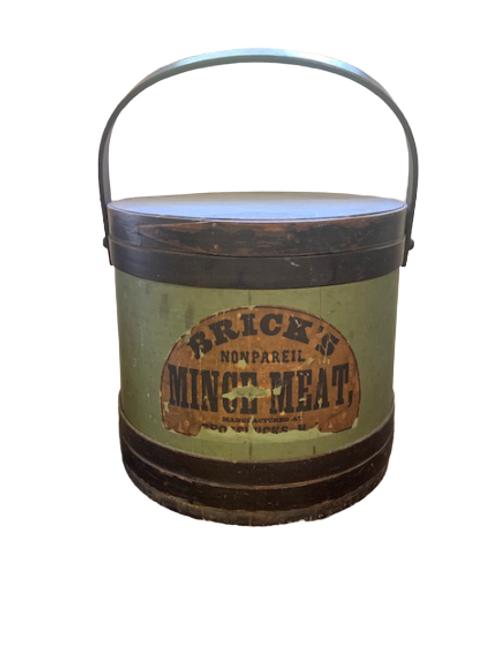 Green & black painted firkin Bricks Mince Meat C.1880 - 1900s
