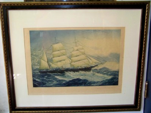 BARK METIS MAKING HARBOR, ETCHING & AQUATINT BY JOHN TAYLOR ARMS.