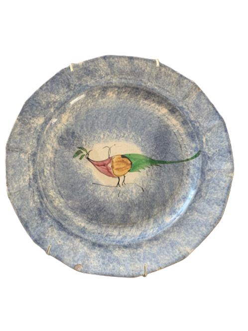Blue spatter ware Peafowl plate