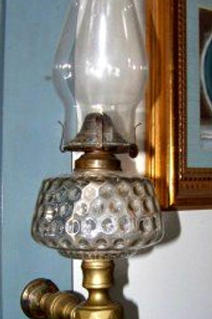 BRASS AND GLASS WALL HANGING OIL LAMP