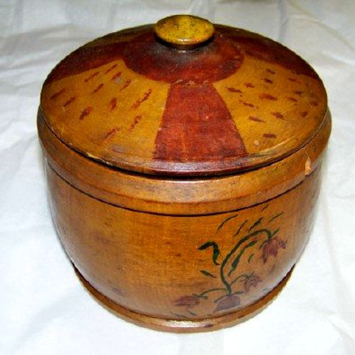 COUNTRY PAINTED RED AND YELLOW COVERED TREENWARE