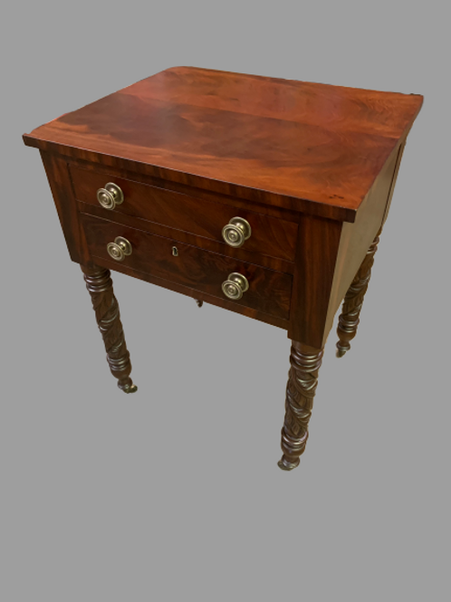 FEDERAL MAHOGANY AND CHERRY TWO DRAWER WORK TABLE