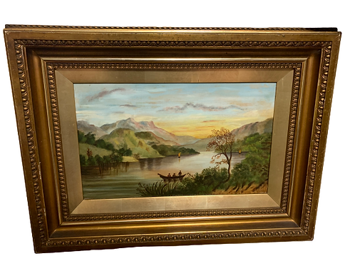 Hudson river school oil painting on canvas