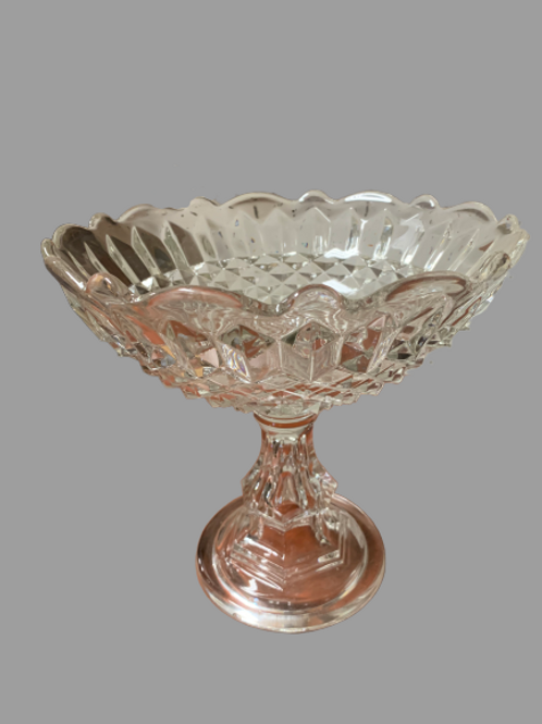 Large flint sandwich glass compote