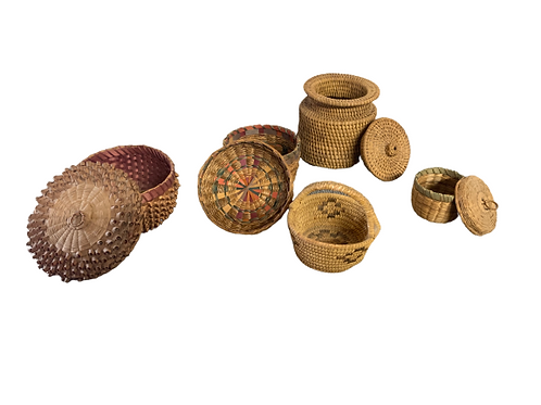 Set of five small assorted baskets