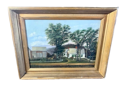 Oil on canavs farm house   landscape scene of farm  house in gold frame 19centur