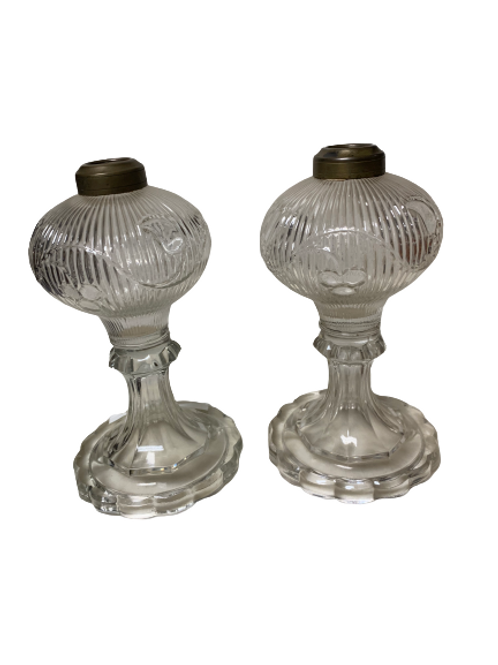 BELLFLOWER & RIBBED LEAF PR. OF WHALE OIL LAMPS