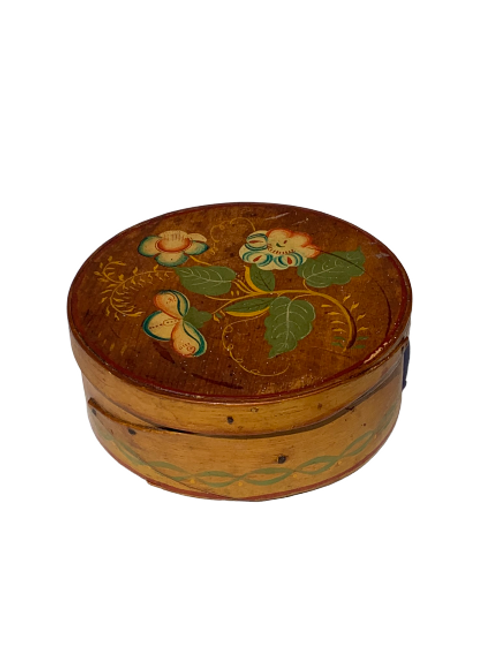 PAINT DECORATED PANTRY BOX WITH YELLOW,GREEN,RED& BLUE PAINT C. 1880s