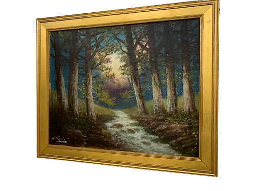 IMPRESSIONISTIC OIL PAINTING ON CANVAS OF A LANDSCAPE BY GEORGE CLINTON KING