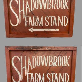 Red & white wood trade sign SADOW BOOK FRAM STAND two side C.1940s $695.00