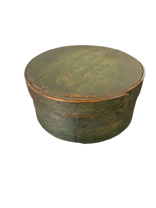 Great green painted oval pantry box