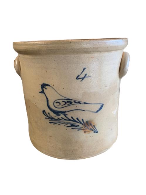 Four gallon stoneware bird crock