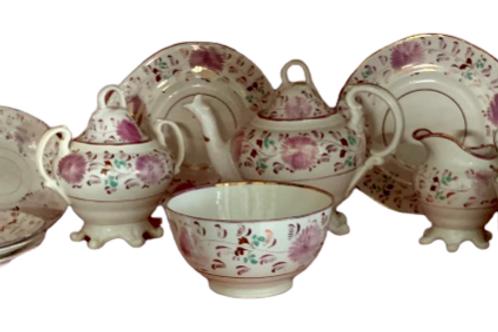 Set of 14 pink luster