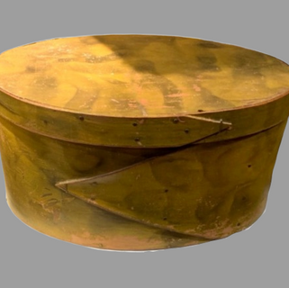 Yellow smoke decorated oval pantry box 19th. Century $985.00