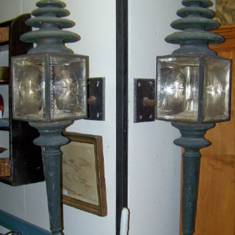 PR. OF BRASS AND TIN WITH GLASS HEARSE LANTERNS