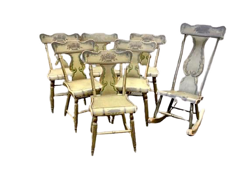 Set ofsix Pennsylvania paint decorated side chairs with matching rocker