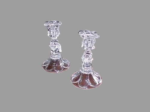 CLEAR BOSTON SANDWICH GLASS PETAL AND LOOP CANDLESTICKS