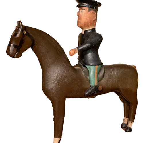 Folk art carved painted horse with rider