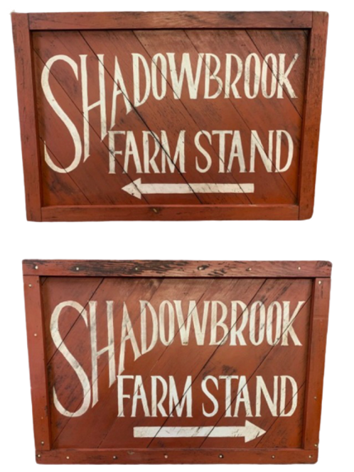 Red & white wood trade sign