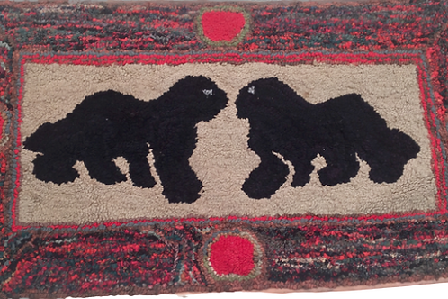 1930's hooked rug with bright colors and two dogs