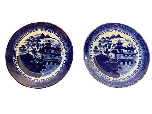Pr. of Canton plates 19th. Century 6 1/2''