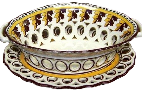 CREAMWARE BOWL & PLATTER WITH NICE COLORS