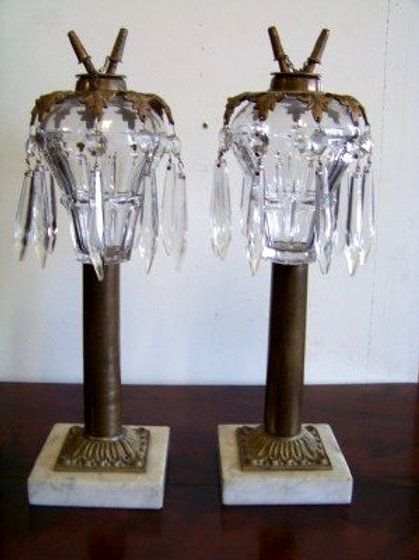 SANDWICH GLASS WHALE OIL LAMPS WITH MARBLE BASE