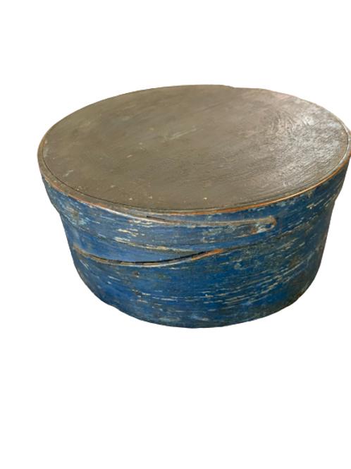 Blue painted round pantry box