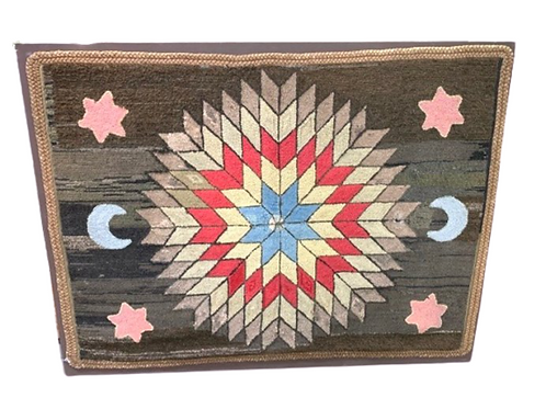 Early folksy hooked rug with stars & moons