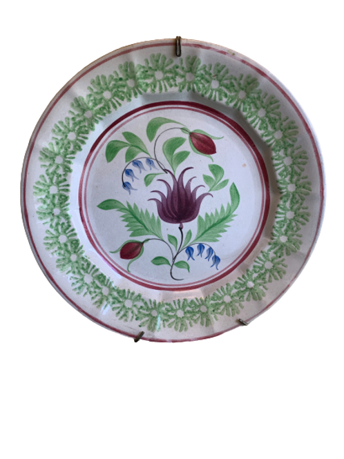Stick spider plate with tulip & viaes 19th. Century