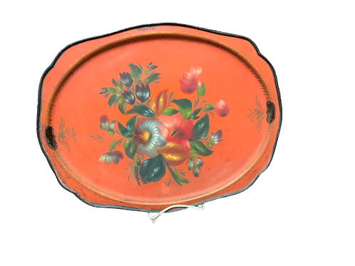 SALMON COLOR PAINTED TOLE WARE TRAY