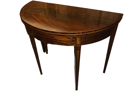 FEDERAL MAHOGANY DEMI-LUNE HEPPLEWHITE CARD TABLE