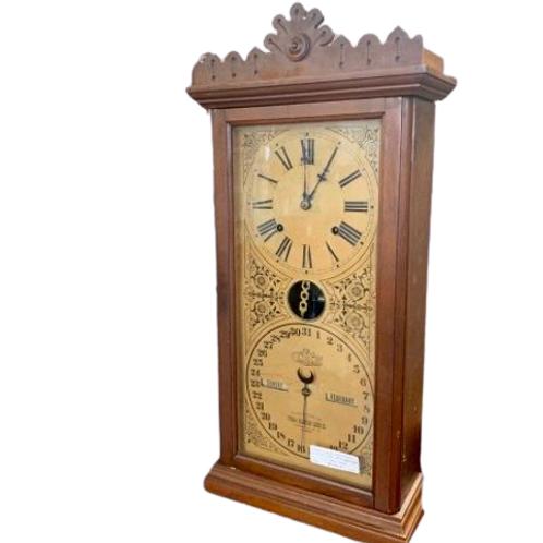 Walnut case Ithaca calendar clock time and strike 8 day #14 Granger