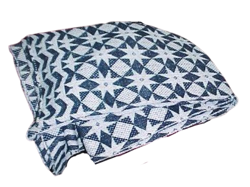 BLUE AND WHITE STAR AND DIAMOND TWO PIECE COVERLET