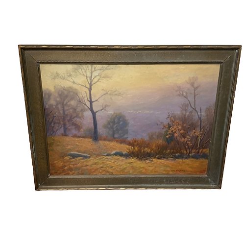 : IMPRESSIONISTIC OIL PAINTING ON CANVAS OF LANDSCAPE BY W.C.BAKER