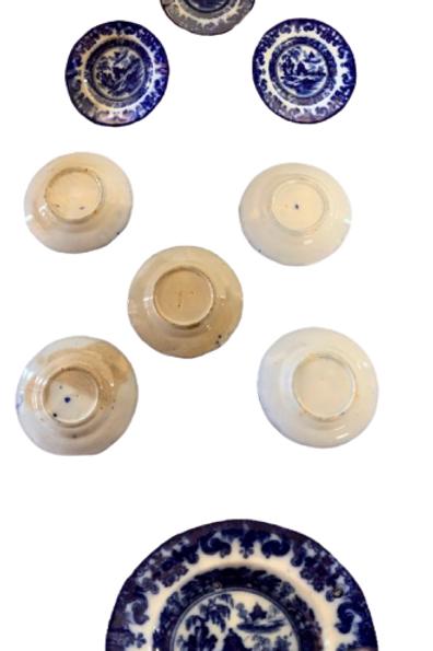 Set of five flow blue cup plates 19th.century ott