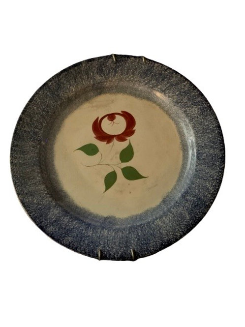 BLUE SPATTER WARE PLATE WITH RED ROSE