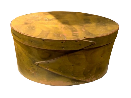 Oval yellow smoke paint decorated oval pantry box 19th. century