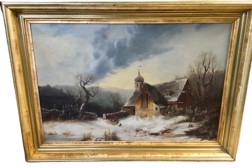 Landscape oil painting on canvas in gold frame winter scene 19th. century