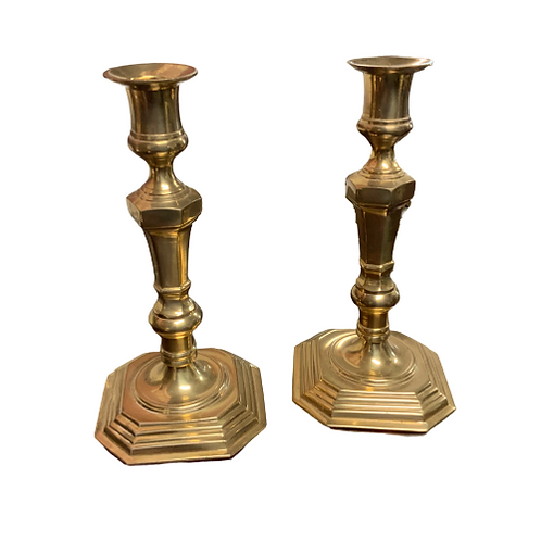PR. OF BRASS SEAMED CANDLESTICKS 18 TH CENTURY